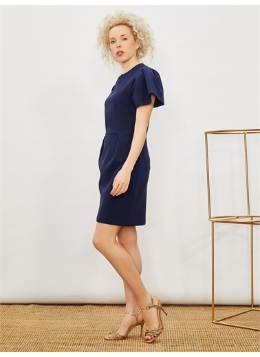 Vekem-Limited Edition Balon Kol Pili Detaylı Elbise Lacivert
